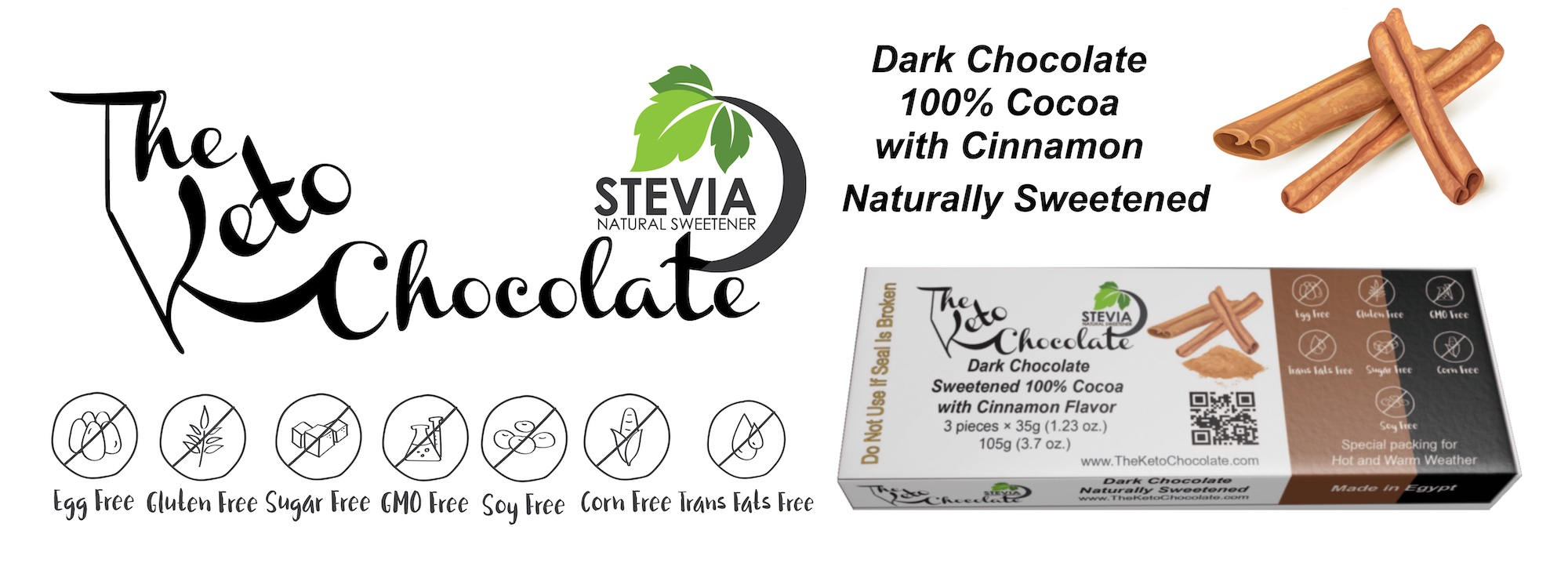 Sweetened Dark Chocolate 100% Cocoa with Cinnamon Flavoured